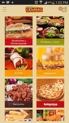 aplicacion pollo campero menu
