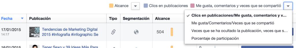 Estadísticas de publicaciones / Filtros - Facebook Insights