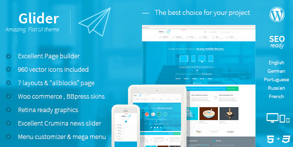Glider - Clean & Powerful Flat stylish theme