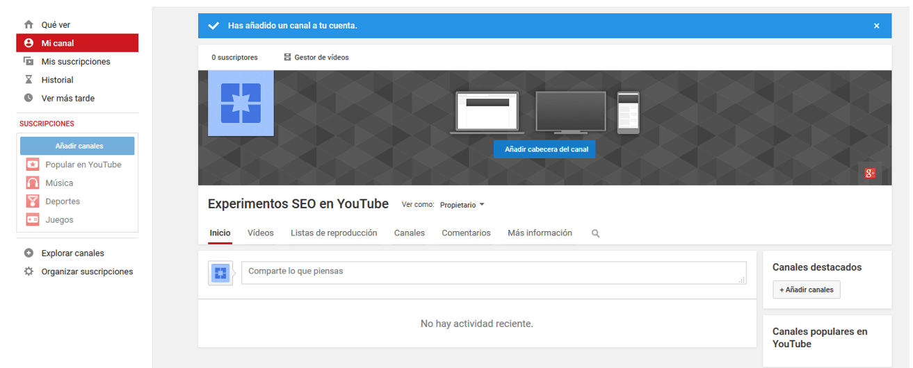 Cómo crear un canal de videos en YouTube 3