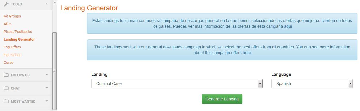 CPAWild-Generador-Landing-Pages