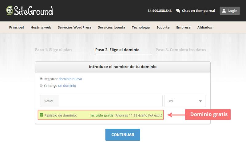 Cómo comprar hosting en siteground paso 2
